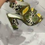 Летние ботинки на высоком толстом каблуке желтый питон натуральная кожа