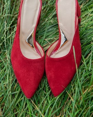 Красные мюли замшевые на удобном каблуке острый носочек