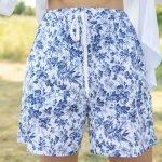 Летние хлопковые шорты боксерки с сине белым рисунком гжель