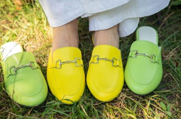 Желтые женские мюли кожаные