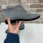 Замшевые серые ботинки-лоферы с мехом норки для женщин