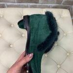 Замшевые ботинки-лоферы зеленого цвета с мехом норки для женщин