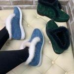Замшевые ботинки-лоферы синего цвета с белым мехом норки для женщин