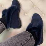 Замшевые ботинки-лоферы темно-синего цвета с мехом норки для женщин