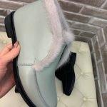 Лоферы с норковой опушкой цвета шафран из натуральной кожи