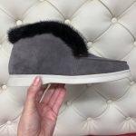Ботинки-лоферы из замши серого цвета с мехом норки для женщин