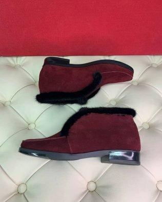 Ботинки-лоферы из замши бордового цвета с мехом норки для женщин