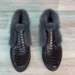 Ботинки женские с норковой опушкой из кожи под кроко коричневые