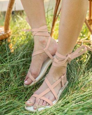 Бежевые вьетнамки в греческом стиле на шнуровке из натуральной кожи