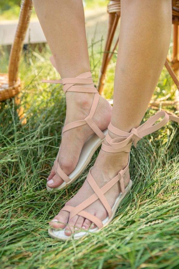 бежевые сандалии на шнуровке женские купить