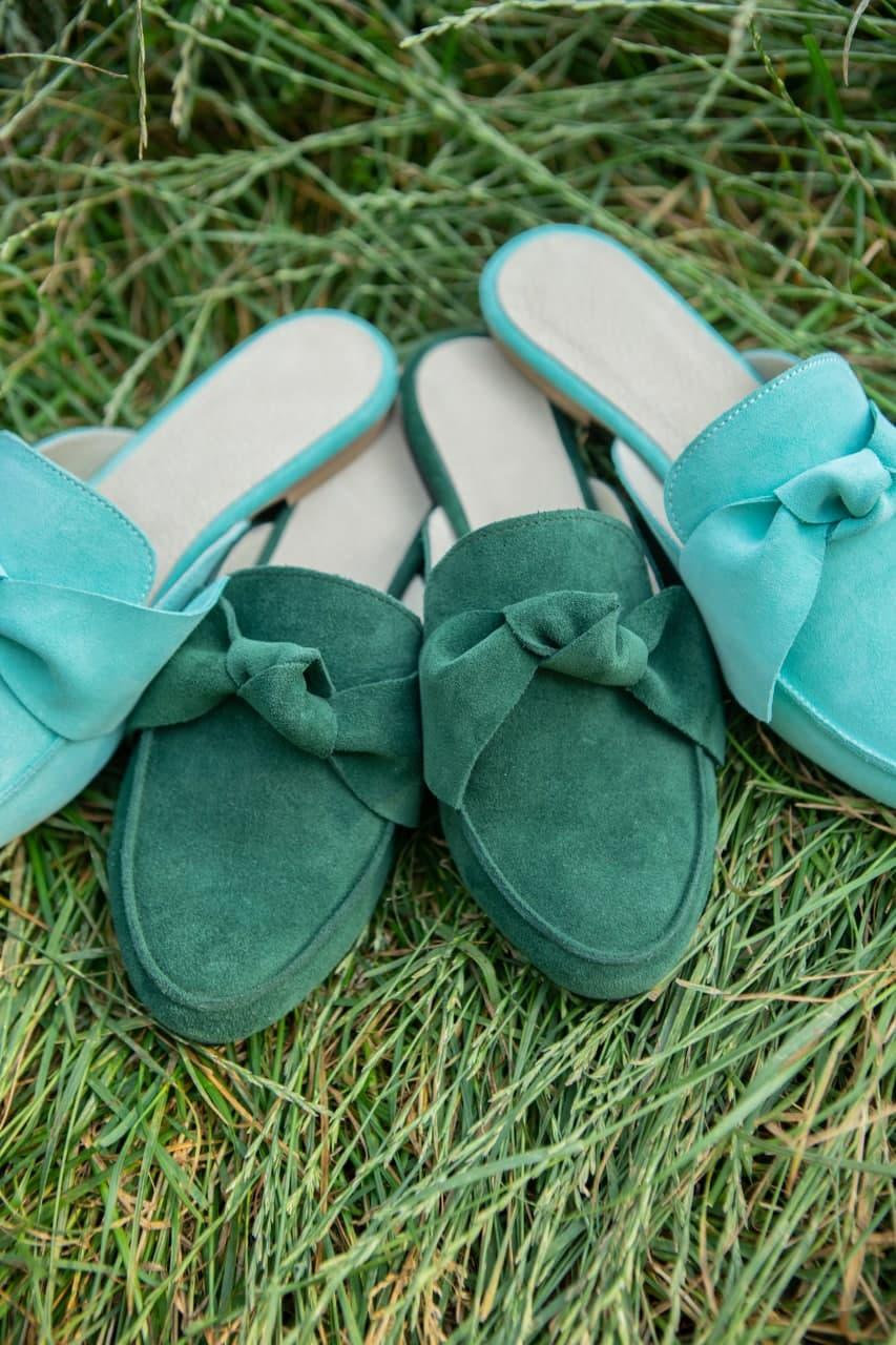 Зеленые мюли замшевые без каблука купить