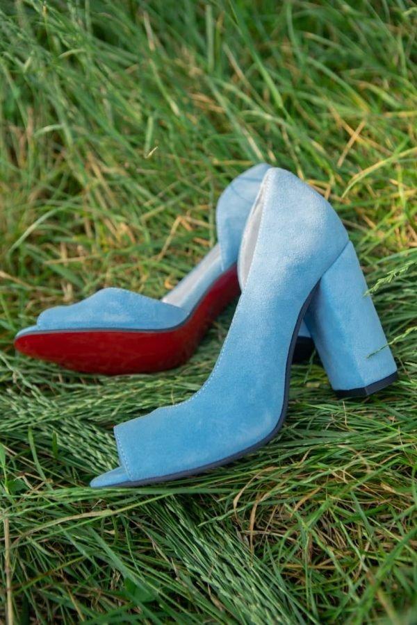 Купить туфли голубые высокий каблук красивые замша