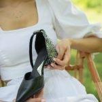 Туфли с блестящим каблуком носок черный из натуральной кожи — удобная колодка