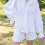 Белые летние шорты боксерки из хлопка женские