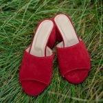 Красные сабо на удобном каблуке из натуральной замши ручной работы