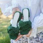 Мюли косы замшевые широкие купить зеленые
