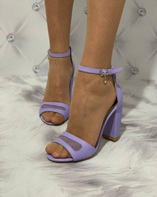 Босоножки фиолетового цвета на высоком устойчивом каблуке натуральная кожа