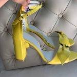 Босоножки желтого цвета на высоком устойчивом каблуке натуральная кожа