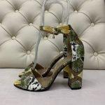 Зеленые босоножки в стиле питон на высоком устойчивом каблуке натуральная кожа