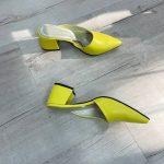Желтые мюли на каблуке купить кожаные