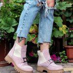 Ботинки женские на грубой подошве из замши пудра