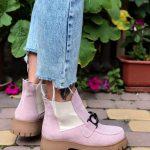 Купить челси ботинки осень на тракторной подошве цвета пудры