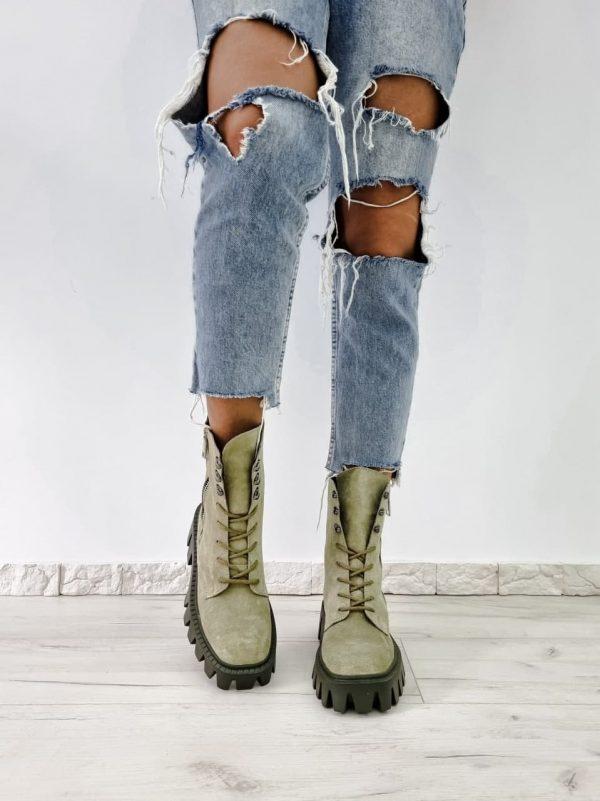 Ботинки замгевые цвета авокадо на тракторной подошве купить