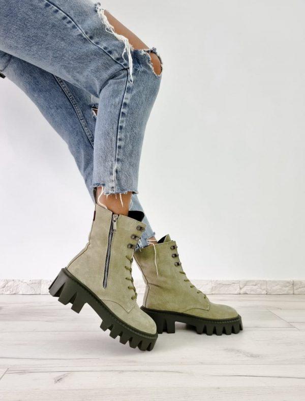 Ботинки замш оливковые на крупной полошве купить