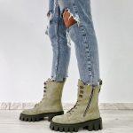 Замшевые ботинки оливкового цвета купить