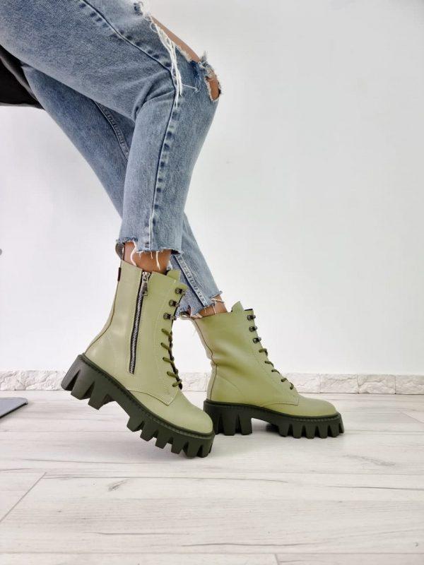 Ботинки на тракторной подошве кожаные цвета авокадо женские купить
