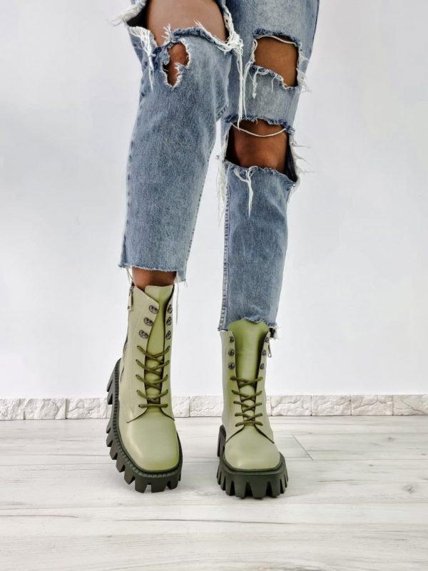 купить милитари ботинки из натуральной кожи светло зеленого цвета