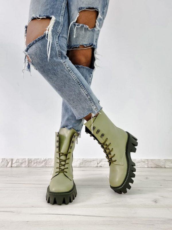 Ботинки с массивной подошвой светло зеленые женские натуральная кожа купить