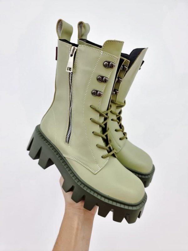 Агли ботинки женские кожаные оливковые