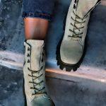 Ботинки в стиле милитари серо зеленые замшевые