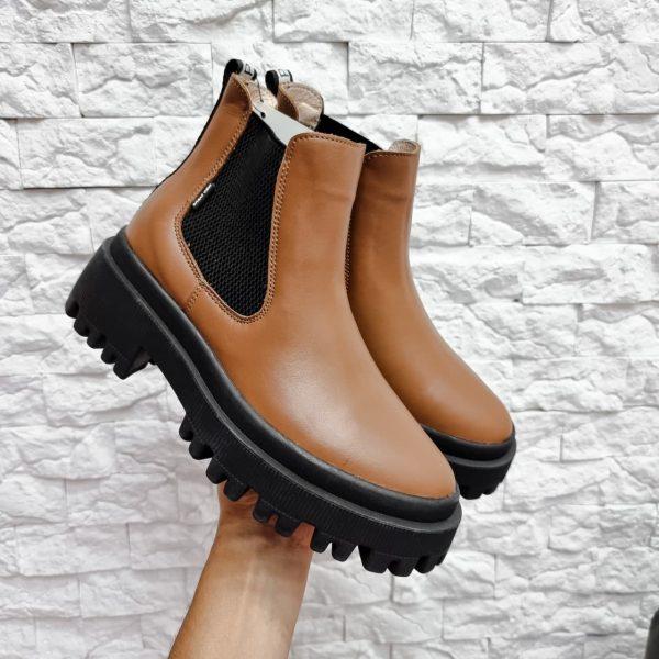 Коричнево рыжие ботинки челси из натуральной кожи купить