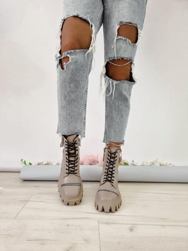 Ботинки на толстой подошве бежевые кожа купить