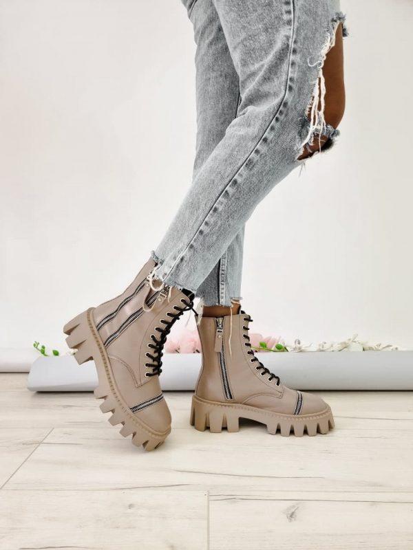 Купить ботинки на толстой подошве бежевые женские