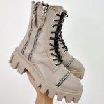 Ботинки на грубой подошве женские бежевые кожаные купить
