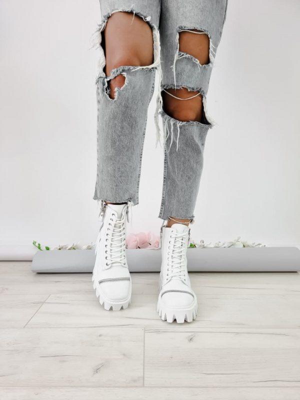 Белые ботинки на грубой подошве купить кожаные женские