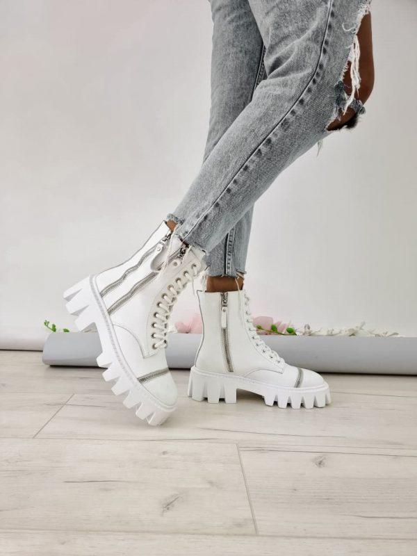 Ботинки белые с грубойй подошвой купить