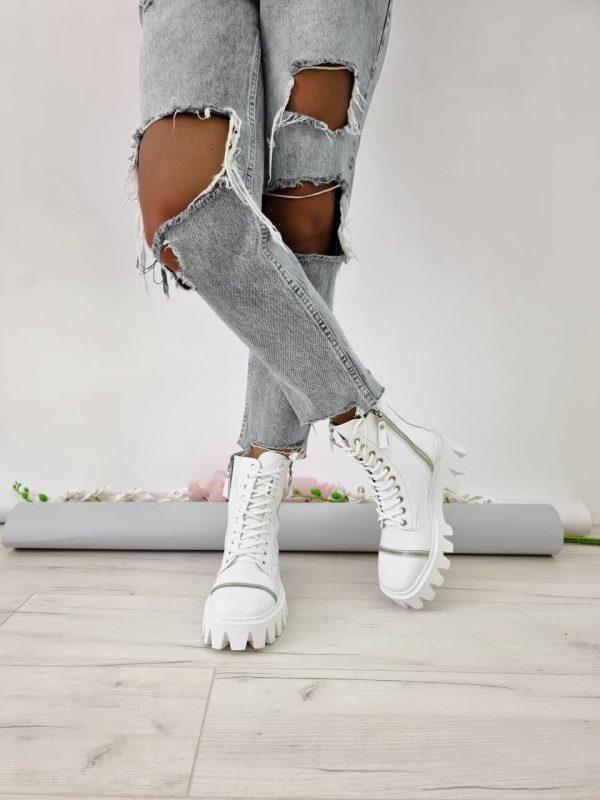 Белые ботинки на грубой подошве из кожи женские купить
