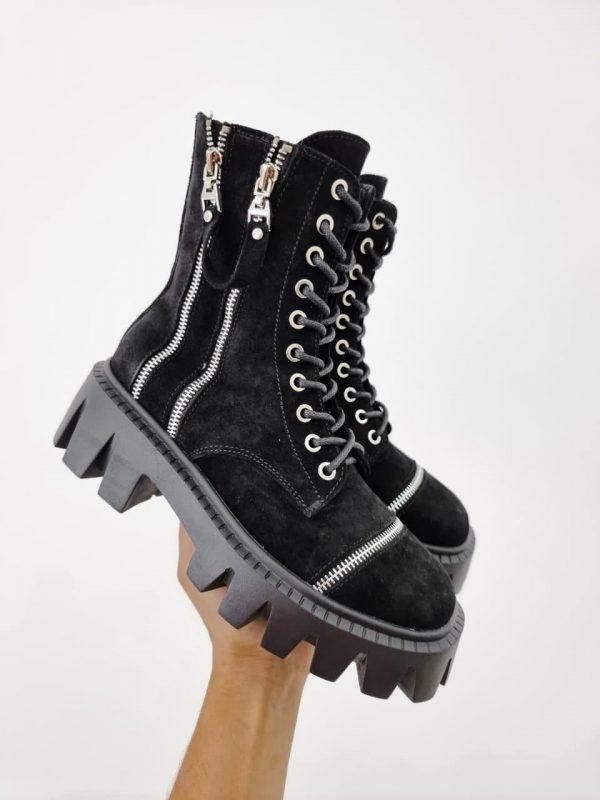 Замшевые черные ботинки на грубой подошве женские купить