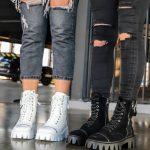 Замшевые ботинки черные на грубой подошве купить