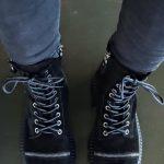 Ботинки женские на массивной подошве натуральный замш черные купить