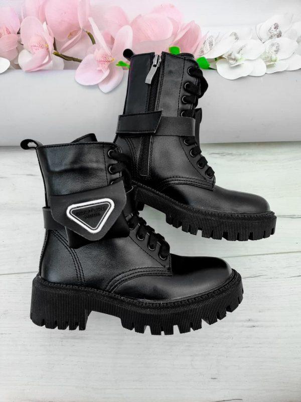 Купитт ботинки с кошельком черные кожаные