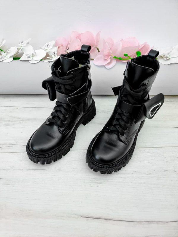 Зимние ботинки с кошельками черные кожаные женские