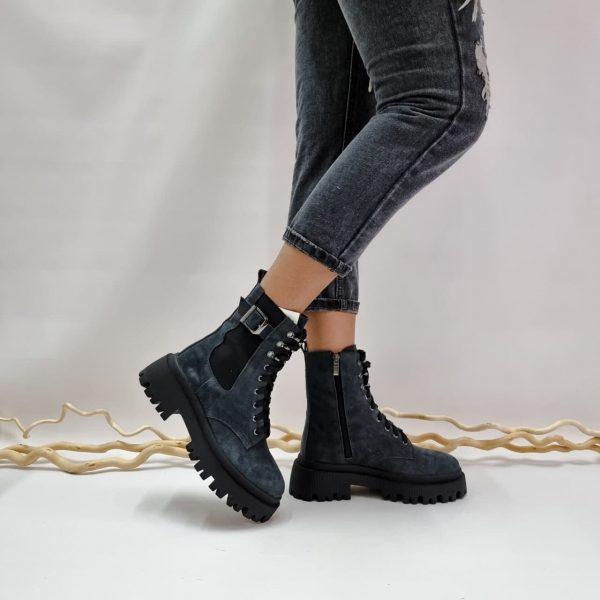 Ботинки на грубой подошве женские замшевые купить