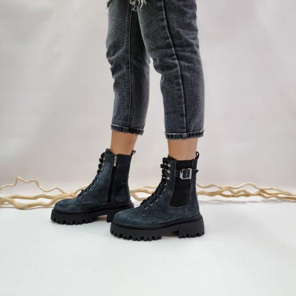 Серые ботинки на грубой подошве замшевые женские купить