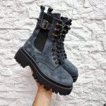 Купить зимние ботинки на грубой подошве женские замшевые