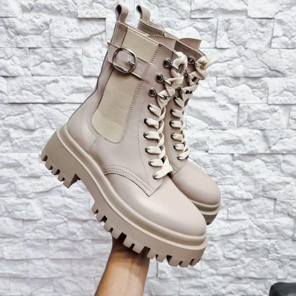 Ботинки темно бежевого цвета женские на массивной подошве из натуральной кожи купить